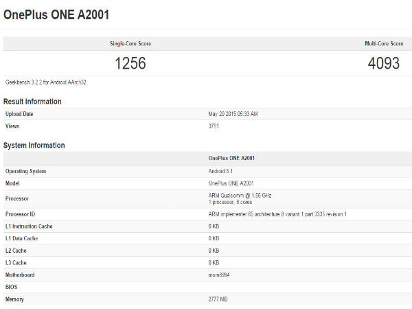 OnePlus Two Benchmark Score Revealed Online With Snapdragon 810 SoC