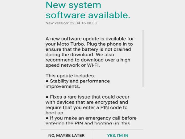 Motorola's Moto Turbo Receives Minor Software Update