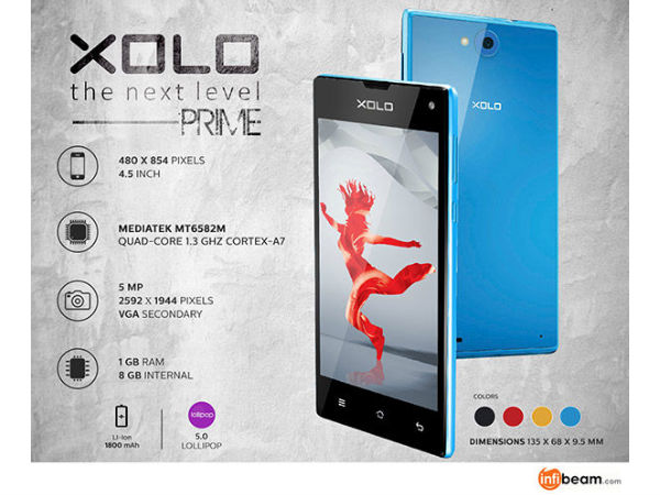 Xolo Prime with Lollipop 5.0 is Now Available at Infibeam at Rs 5,629