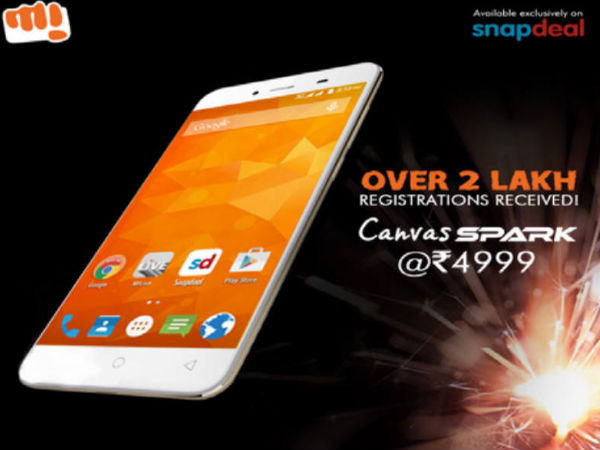 Micromax Sold 50,000 Units of Canvas Spark Within 5 Minutes on Snapdea