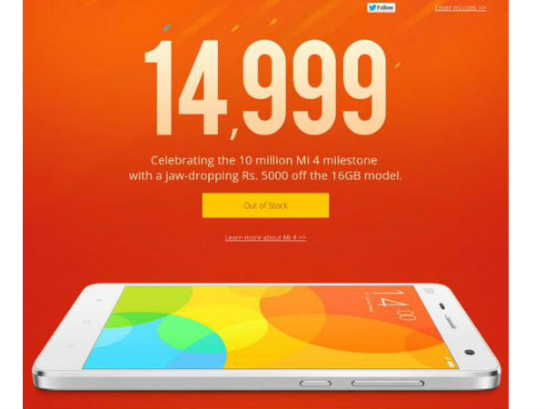 Xiaomi Mi 4 16GB PriceSlashed, Now Available at Rs 14,999