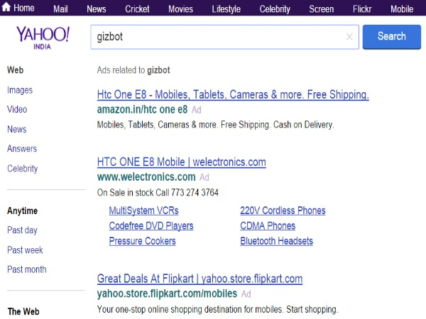 Yahoo tests using Google search skills