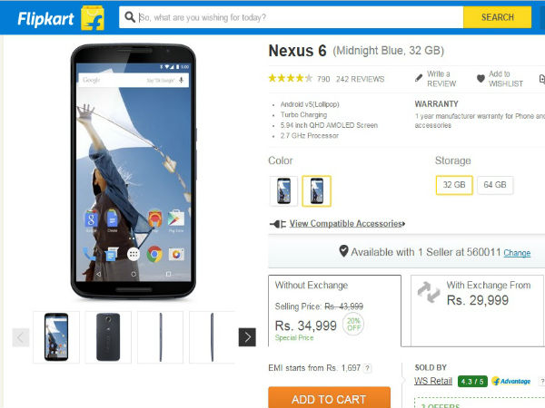 Google Nexus 6 Price Slashed, Available For Rs 34,999 On Flipkart