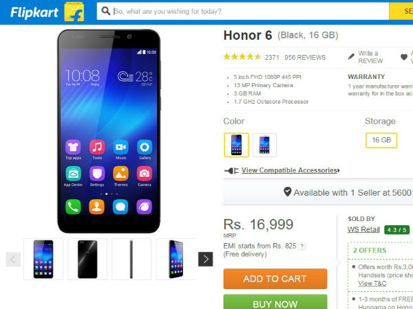 Huawei Honor 6 Got Price Cut: Available For Rs 16,999