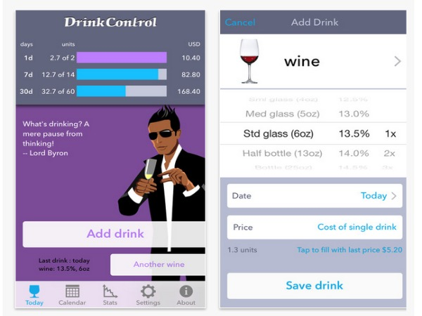 Smartphone app to check daily alcohol limit