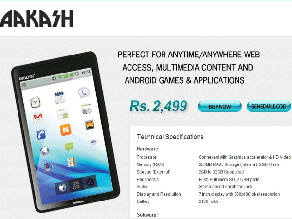Low-cost Aakash tab project closes,1 lakh target achieved: RTI