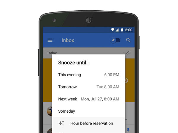 Inbox by Gmail receives new and updated Snooze features