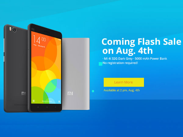 Next Xiaomi Flash sale on 4th August: 64GB Mi4i & 5000mah Mi Powerbank