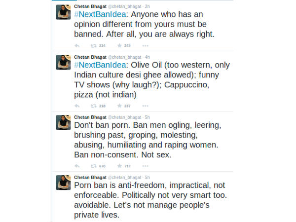 Ban on porn anti-freedom, impractical: Chetan Bhagat