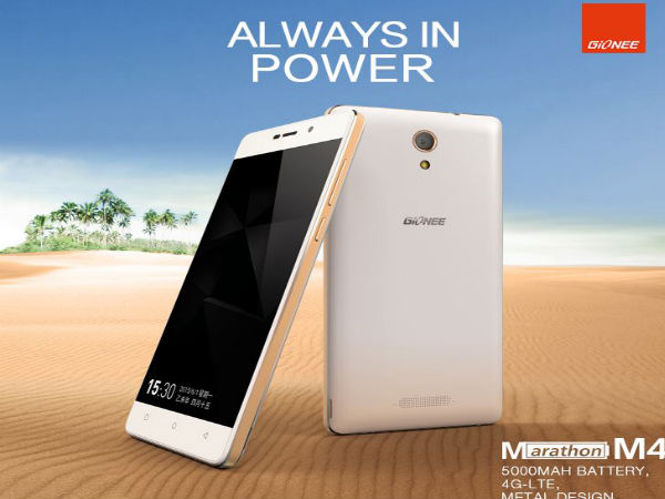 Gionee Marathon M4 with Huge 5,000 mAh Battery, 2GB RAM Launched