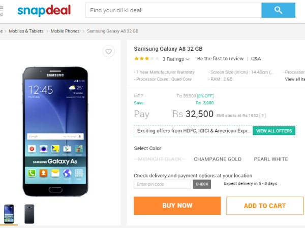 Snapdeal: Samsung Galaxy A8 Price