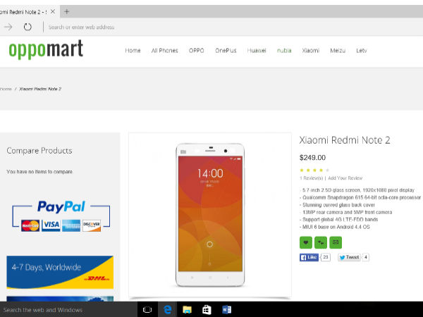 Xiaomi Redmi Note 2 spotted in listing by Oppomart