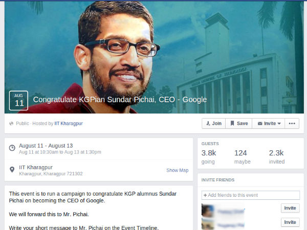 IIT-Kharagpur opens Facebook page to congratulate Pichai