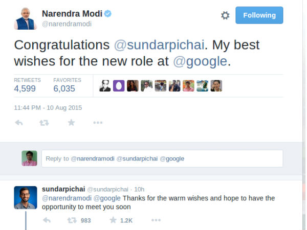 Pichai hopes to meet India's PM Modi soon