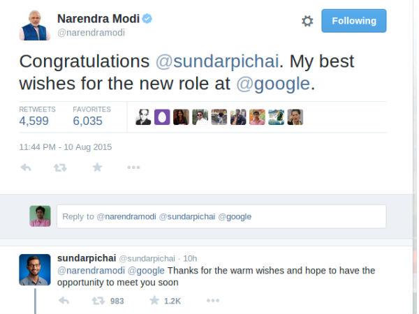 Pichai hopes to meet India's PM Modi soon