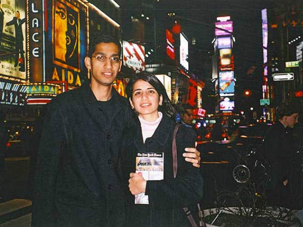 Sundar Pichai with Wife and Times Square, NYC