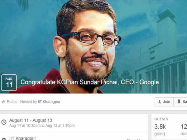 Sundar Pichai's New FB Page created by IIT Kharagpur