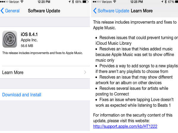 Apple Started Rolling out iOS 8.4.1 Update