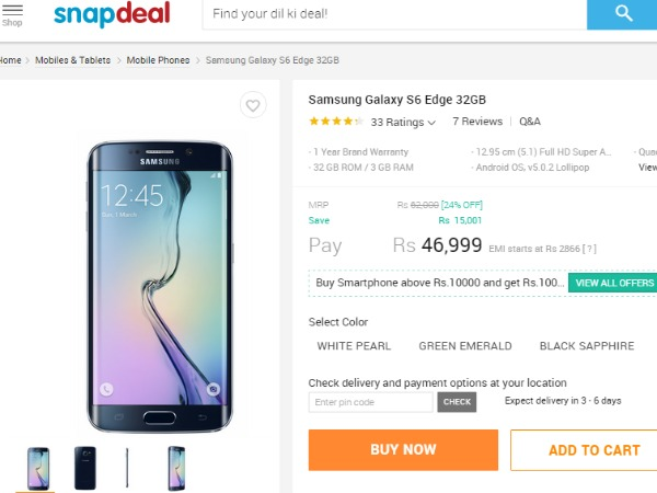 Snapdeal: Samsung Galaxy S6 Edge 32GB