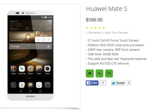 Huawei Mate S to come with Force Touch: All That We Know So Far