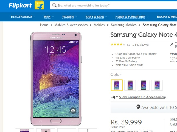 Flipkart: Samsung Galaxy Note 4 Price