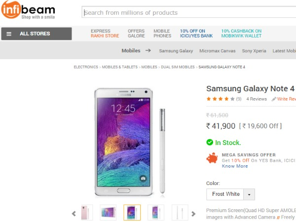 Infibeam: Samsung Galaxy Note 4 Price