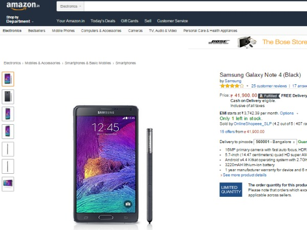 Amazon: Samsung Galaxy Note 4 Price