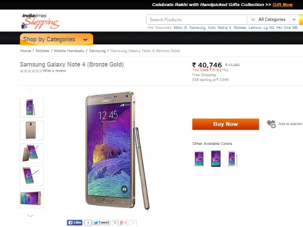Shopping.indiatimes: Samsung Galaxy Note 4 Price