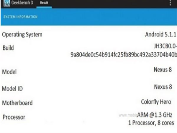 Google Nexus 8 Spotted on Geekbench 3 Benchmark Test [Report]