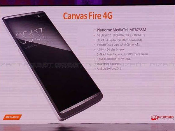 Micromax Ties-Up with Mediatek, Announced Canvas Fire 4G