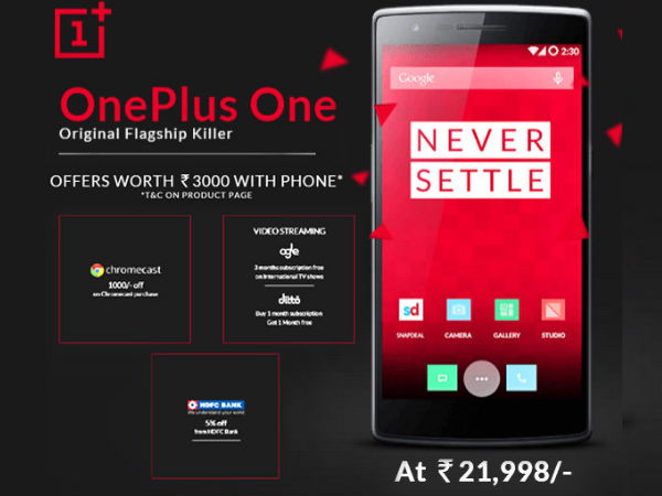 OnePlus One 64GB Sandstone Black Model Now Available at Rs 21,998