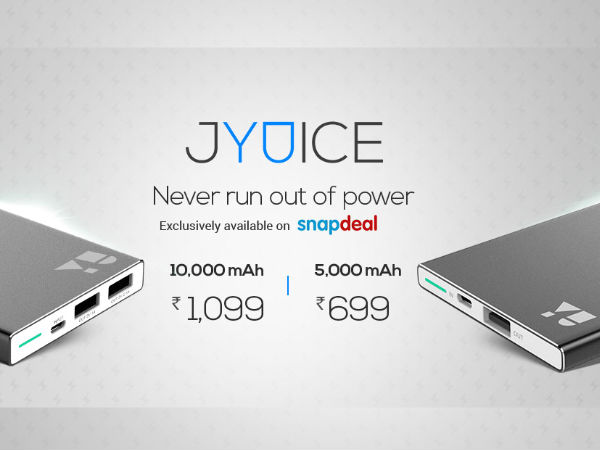 YU JYUICE Power Bank 5000mAh and 10000mAh Launched at Rs 699 Onwards