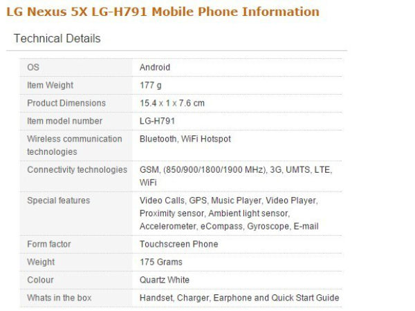 LG Nexus 5X 16GB variant with 12.3MP camera and 2GB RAM spotted