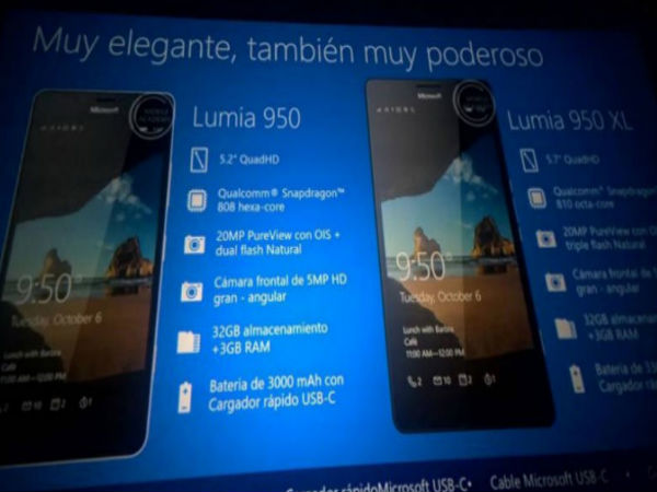 Microsoft Lumia 950XL, Lumia 950 and Lumia 550 Specs Leaked [Report]