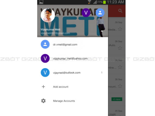 how to get outlook account setting android app