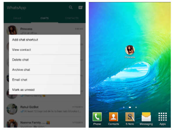 Create a home screen shortcut for your favorite chats