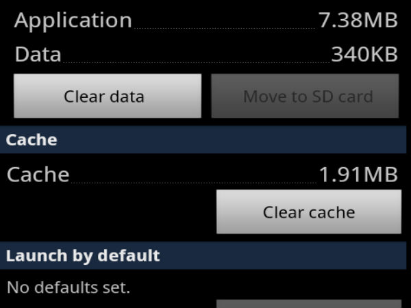 Clear App Cache or Data
