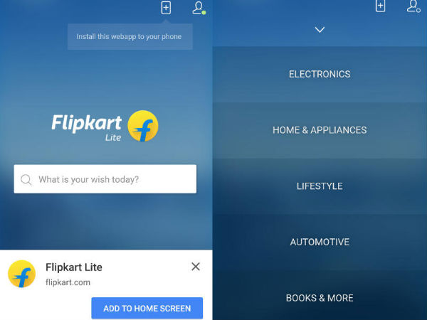 Flipkart brings back a Lite version of their Mobile Website