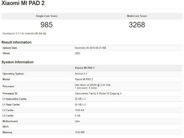 Xiaomi Mi Pad 2 appears on Geekbench listing with few specifications