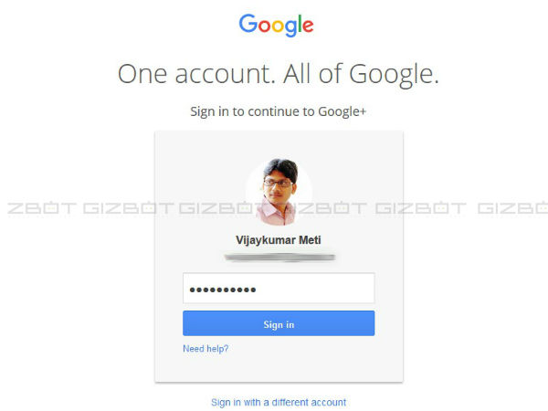 Sign in to your Google Plus