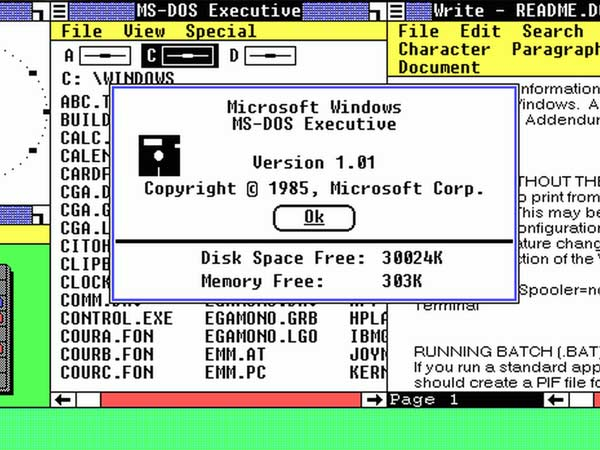 Windows 1.0 and 2.x [1985-1987]