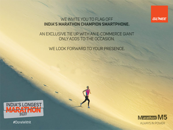 Gionee to Launch Marathon M5 Smartphone with 6020mAh Battery in India