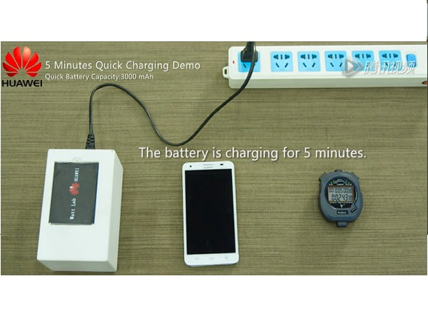 Huawei Quick Charge battery can be charged upto 50% in just 5 minutes