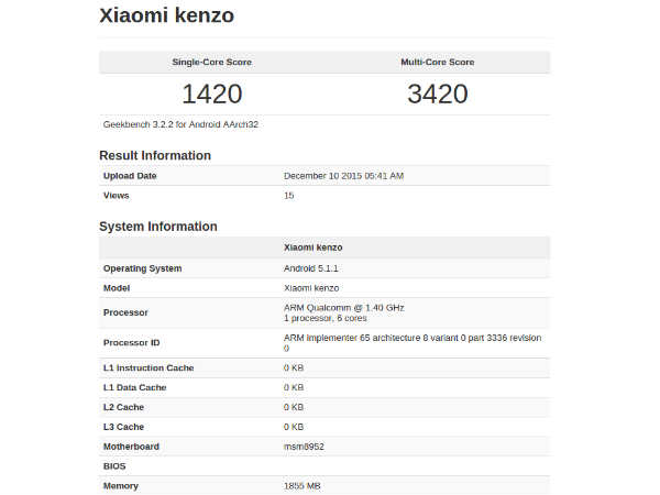Xiaomi Kenzo may be the Redmi Note 2 Prime for India