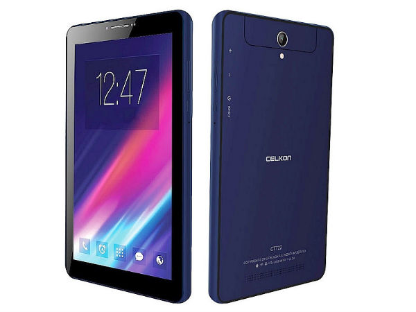 Celkon Launches CT722 Tablet with Intel Atom CPU at Rs 4,999