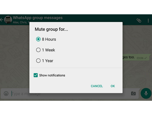 Mute group chat notifications