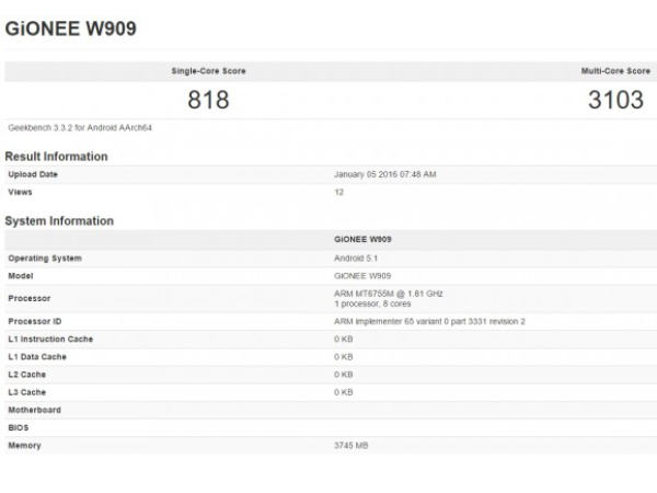 Gionee W909 with Helio P10, 4GB RAM surfaces in Geekbench database