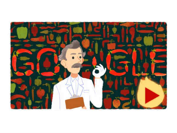 Google Doodle honors Wilbur Scoville, creator of the Scoville Scale