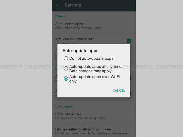 Disable auto-updating in Google Play Store