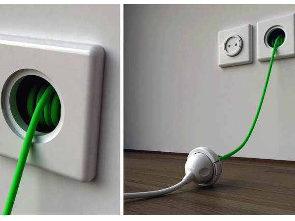 Wall Socket with Built-In Extension Cable